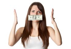 Silenced by money stock photo