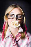 Romantic Nerd Flower Girl With Expression Of Love Royalty Free Stock Photos