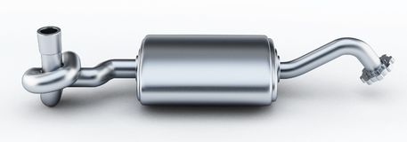 Silencer of exhaust gases of the car tied in a knot. 3D illustration.  Stock Photo