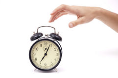 Silencing alarm clock Stock Image