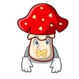 Silent amanita mushroom mascot cartoon Royalty Free Stock Photos