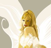 Silent angel. Female angel with butterfly wings Royalty Free Stock Photo