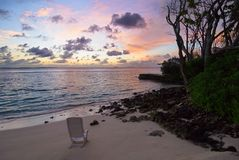 Silent beach dawn. In maldives island: Kuda Bandos Royalty Free Stock Photography