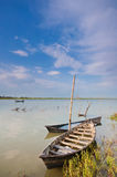 Silent boat. S in a river Stock Photos