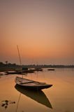 Silent boat. S at beautiful sunset Stock Image