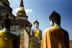 Silent buddhas in thai temple. Ancient sculpture of a buddha in yellow robes. Temples and pagodas in Ayutthaia, ancient capital of Thai kingdoms, near Bagkok Royalty Free Stock Photography