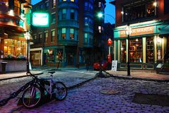 Quiet night in the North End. A silent calm falls upon Momma Maria`s Italian Restaurant and Boston`s North End royalty free stock image