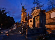 The silent cemetery. Evening at the famous cemetery in Prague Royalty Free Stock Photo