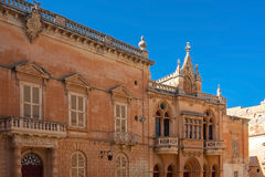 The medieval citadel of Mdina. Typical houses in the Silent City, government and administrative centre during the medieval period, Mdina, Malta Royalty Free Stock Images