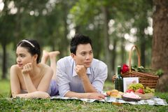 Silent couple at the picnic Royalty Free Stock Images