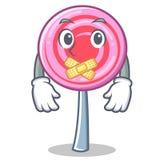 Silent cute lollipop character cartoon. Vector illustration Stock Photos