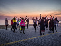 Silent Disco at the Beach. A groups of women dance at a silent disco at Melbourne`s St Kilda beach Stock Images