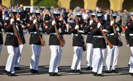 Silent Drill Team. Soldiers of the United States Marine Corps Silent Drill Team. Image taken on March 8th 2008, at MCRD, San Diego stock image