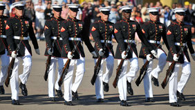 Silent Drill Team. Soldiers of the United States Marine Corps Silent Drill Team. Image taken on March 8th 2008, at MCRD, San Diego Stock Photography