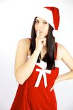 Silent female santa claus ready for Christmas Royalty Free Stock Image