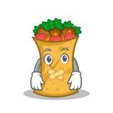 Silent kebab wrap character cartoon. Vector illustration stock illustration