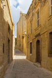 Silent and magical alley in Mdina, Malta Royalty Free Stock Image