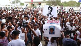 Silent march in honor of Luis Giovani Rodrigues stock video
