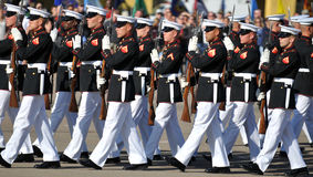 Silent Marching Perfection. Soldiers of the United States Marine Corps Silent Drill Team. Image taken on March 8th 2008, at MCRD, San Diego stock photo