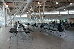 Silent moment. In airport waiting for your flight Stock Photos