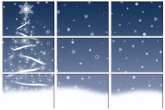 White Christmas tree in window. Festive Christmas holiday tree in snow scene through window Stock Image