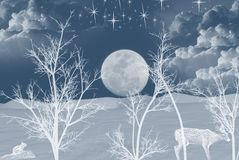 full moon with wildlife in snow Royalty Free Stock Photos