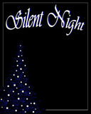 Silent night christmas background. A blue christmas tree with white bulbs on a black background with silent night in fancy lettering Stock Photo