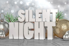 Silent Night 3D text Royalty Free Stock Images