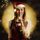 Silent night elf keeping night watch for santa Stock Photography