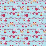Silent night holy night lettering vector seamless pattern with angels playing on trompet and Christmas bells. Surface royalty free illustration
