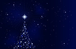Silent night, holy night. Abstract Christmas background with Christmas tree, peaceful, tranquil and silent. Use of 10 global colors, blends. Artwork grouped and Stock Image