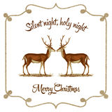 Silent night, holy night - Christmas card. Christmas greetings card with vintage style. It reads Silent night, holy night. Merry Christmas and has a couple of Stock Image
