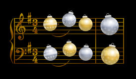 Silent Night Musical Notation Baubles Stock Photos