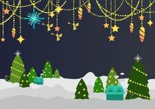Silent night theme cartoon style Royalty Free Stock Photography
