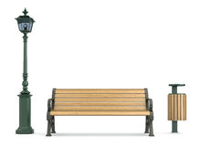 Silent place. 3D concept with the park bench, street lamp and litterbin Royalty Free Stock Photography
