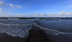 Silent Place. Pier into the sea at day Royalty Free Stock Photo