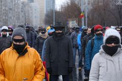 SILENT PROTEST IN BUCHAREST Royalty Free Stock Photo