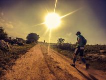 Silent  R(S)un. Trail run in Israel Stock Photos