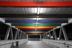 Silent Rainbow Pedestrians Bridge. A special design Rainbow color pedestrians bridge in Hong Kong Royalty Free Stock Images