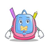 Silent school bag character cartoon. Vector illustration Royalty Free Stock Photo