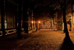 Silent Street during Night Stock Images