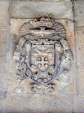 Silent streets in the old city of Jerusalem, Israel. The coat of arms on the wall of the house on Via Delorosa. Jerusalem, Israel, July 14, 2017 : Silent streets Stock Images