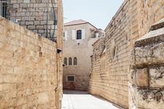 Silent streets in the old city of Jerusalem, Israel. Hativat  Etsyoni street. Stock Photos