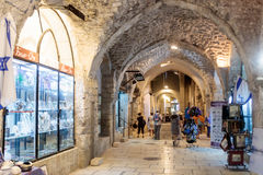 Silent streets in the old city of Jerusalem, Israel. Market in the El Wad Ha  Gai street. Stock Photography