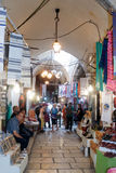 Silent streets in the old city of Jerusalem, Israel. Market in the El Wad Ha Gai street. Royalty Free Stock Image