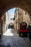 Silent streets in the old city of Jerusalem, Israel. Misgav Ladach street. Jerusalem, Israel, July 14, 2017 : Silent streets in the old city of Jerusalem Stock Photo