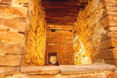 Chaco Canyon in New Mexico. Once was the largest settlements of Native Americans . Built over 2000 years ago it was suddenly abandoned with no clues about why stock photo