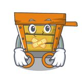 Silent wooden trolley mascot cartoon. Vector illustration stock illustration