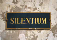 Silentium. Silence tag in a benedectin monastry Stock Photography