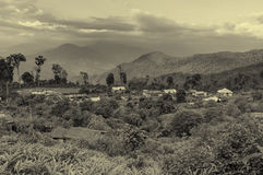 Silerygaon Village, with Himalayan mountain in backdrop, Sikkim Royalty Free Stock Photos